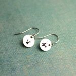 Unique hand stamped initial earrings for her.