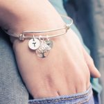 Tree of life bangle with hand stamped initials