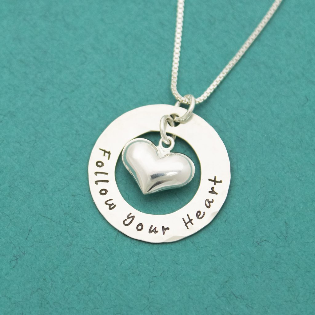 Follow your Heart necklace in sterling silver