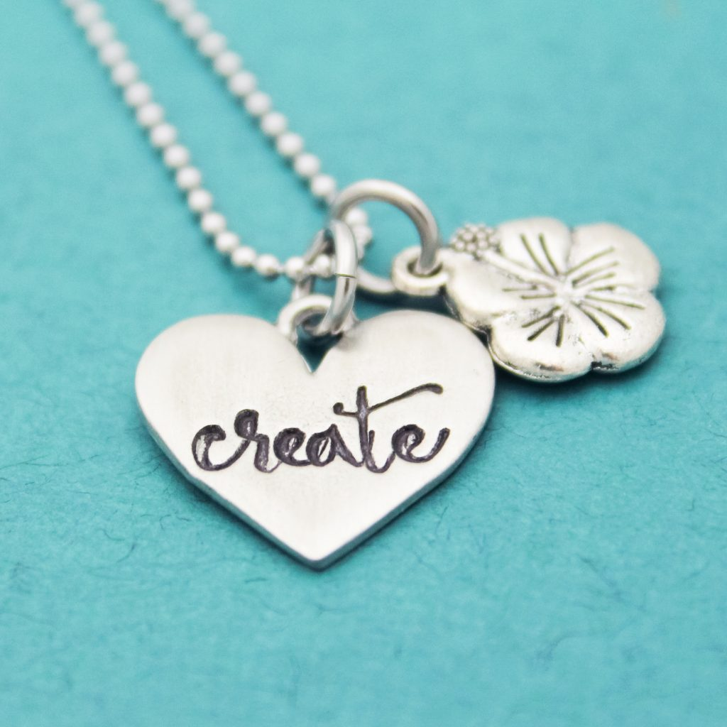 Create heart necklace with flower