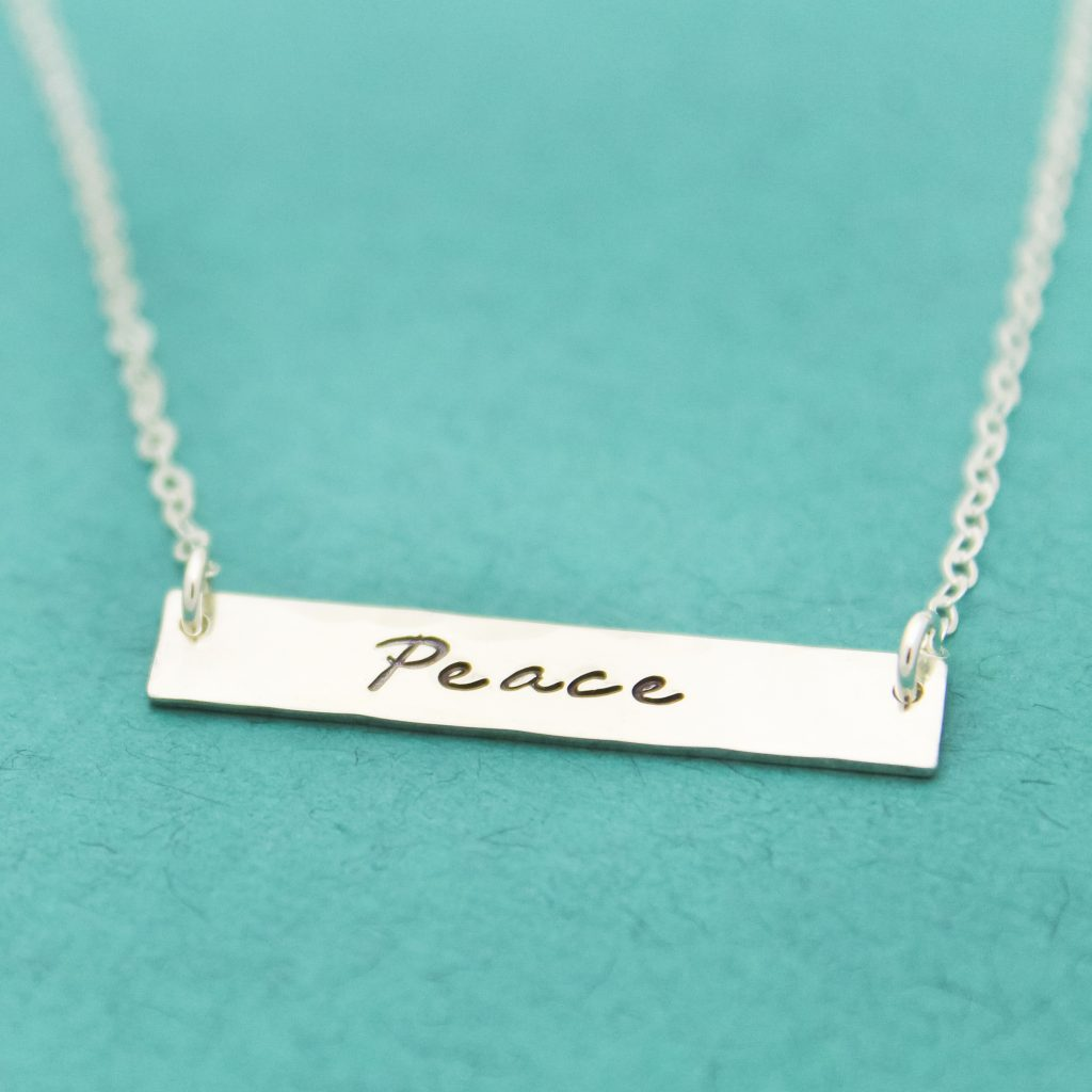 Peace Bar necklace in sterling silver
