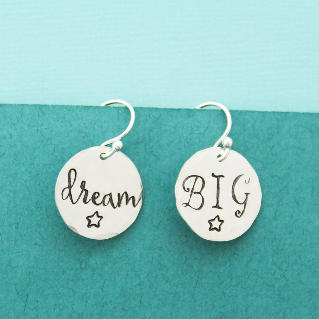Dream Big sterling silver earrings