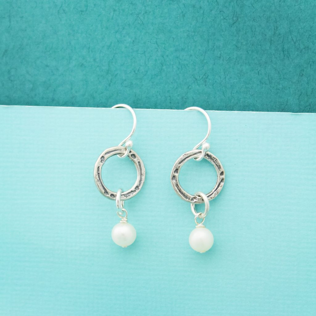 eternal circle pearl drop earrings