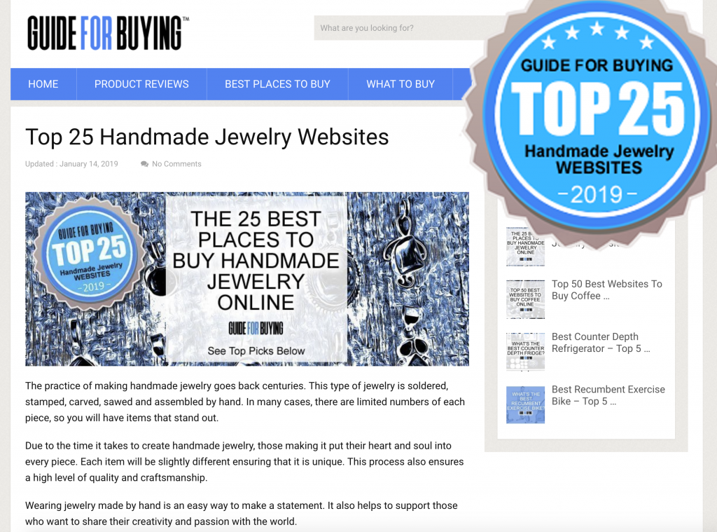 Top 25 best places to buy handmade jewelry online in 2019.