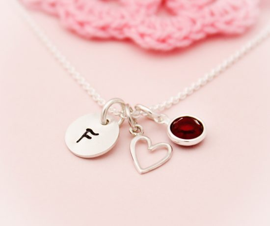 Simple and classic heart with initial and birthstone necklace.