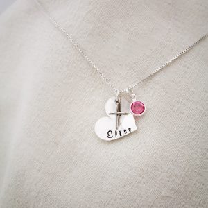 Cross inside a heart sterling silver confirmation girls necklace jewelry.