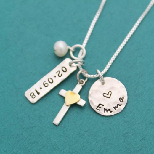 confirmation sterling silver and bronze cross necklace for girls.