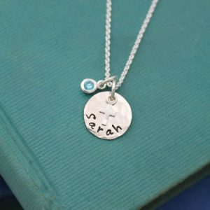 Tiny sterling silver cross necklace with name and birthstone.