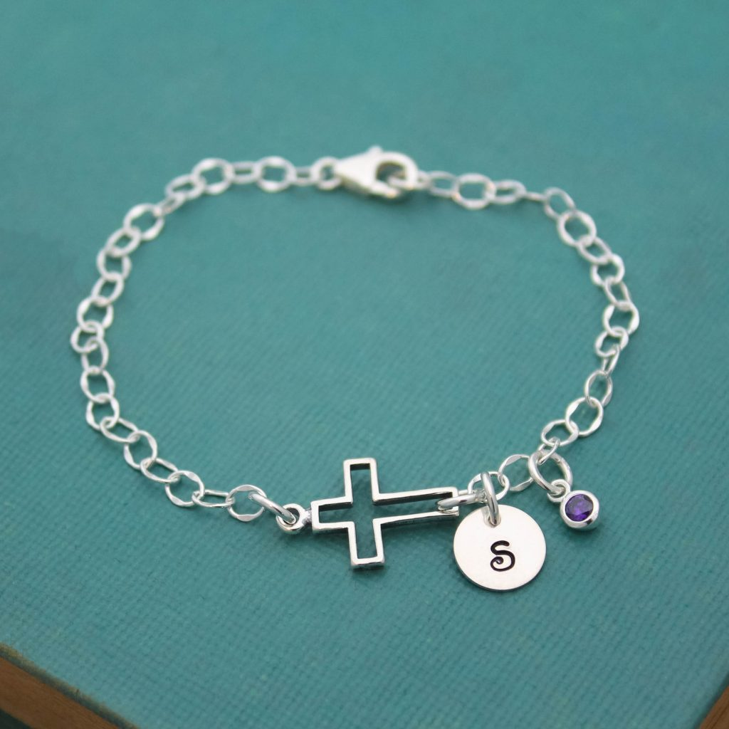 Cross sterling silver bracelet for confirmation.