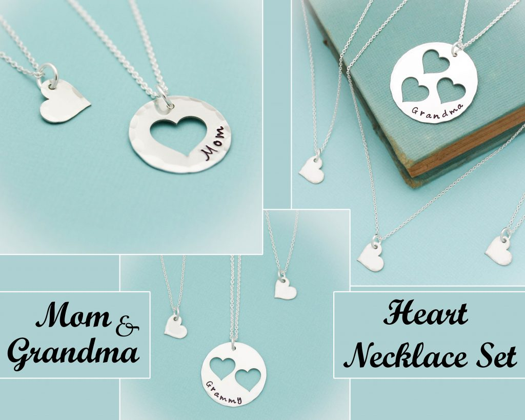 Mom Grandma Heart Necklace Personalized Hand Stamped Handmade