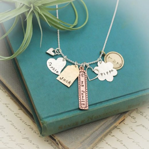 Mixed Metals Charm Necklace for Mom Mothers Day Gift