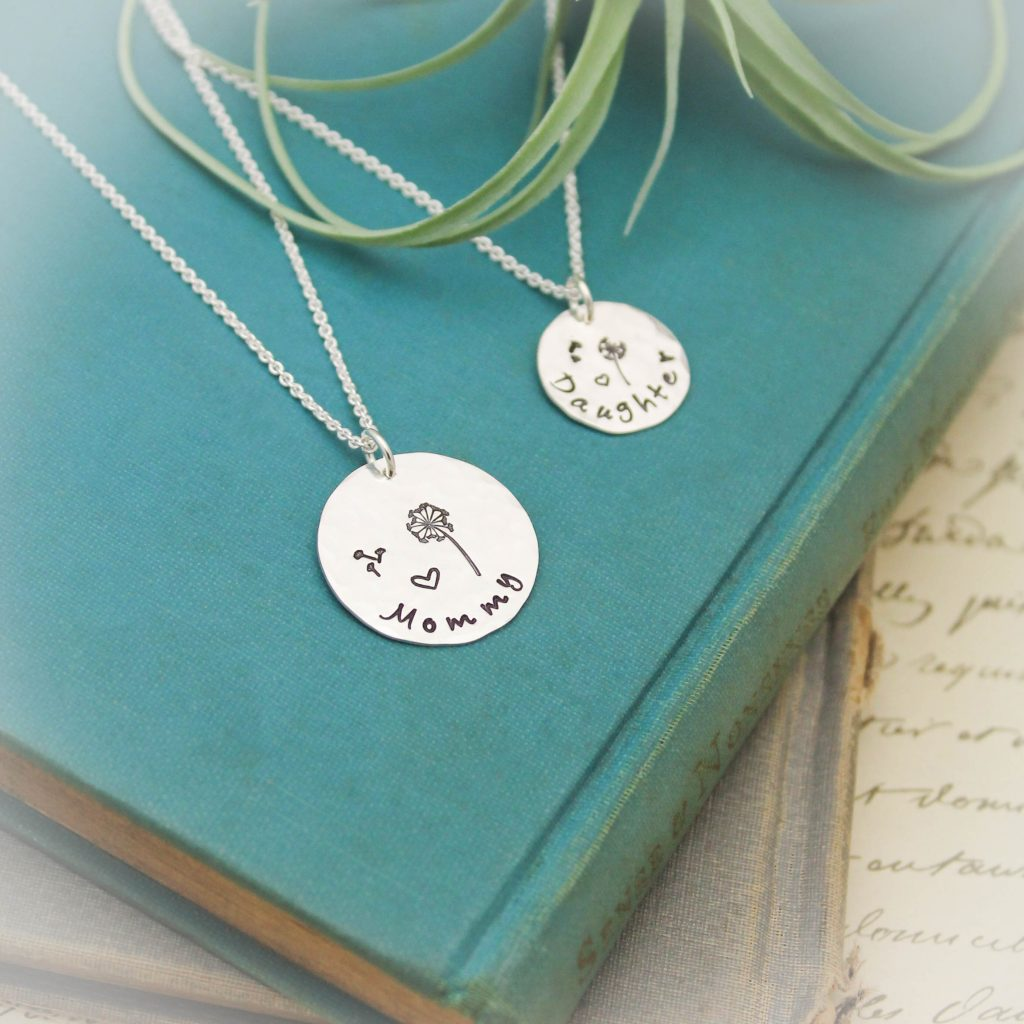 Mother Daughter Necklace set in sterling silver.
