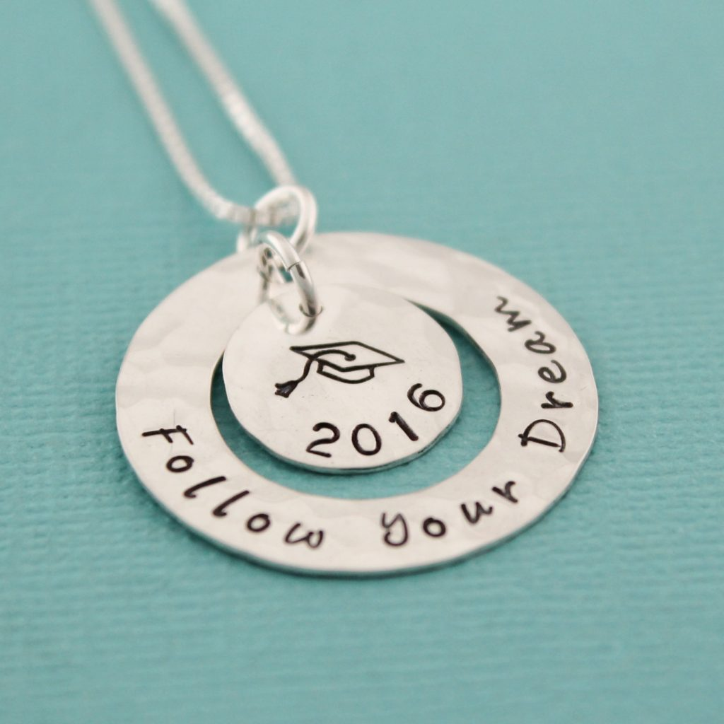 Unique Hand Stamped Jewelry by Tracy Tayan Designs for grads.