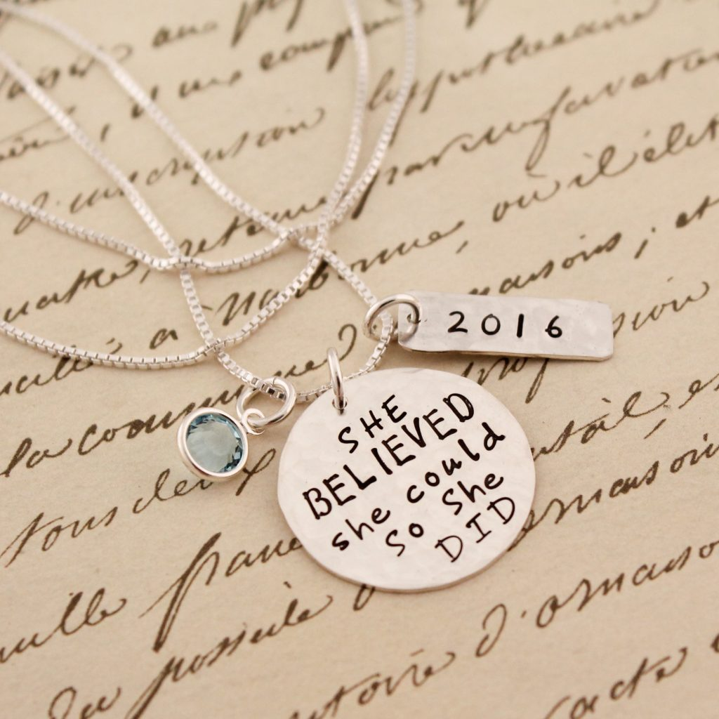 Hand stamped graduation gift jewelry by Tracy Tayan Designs