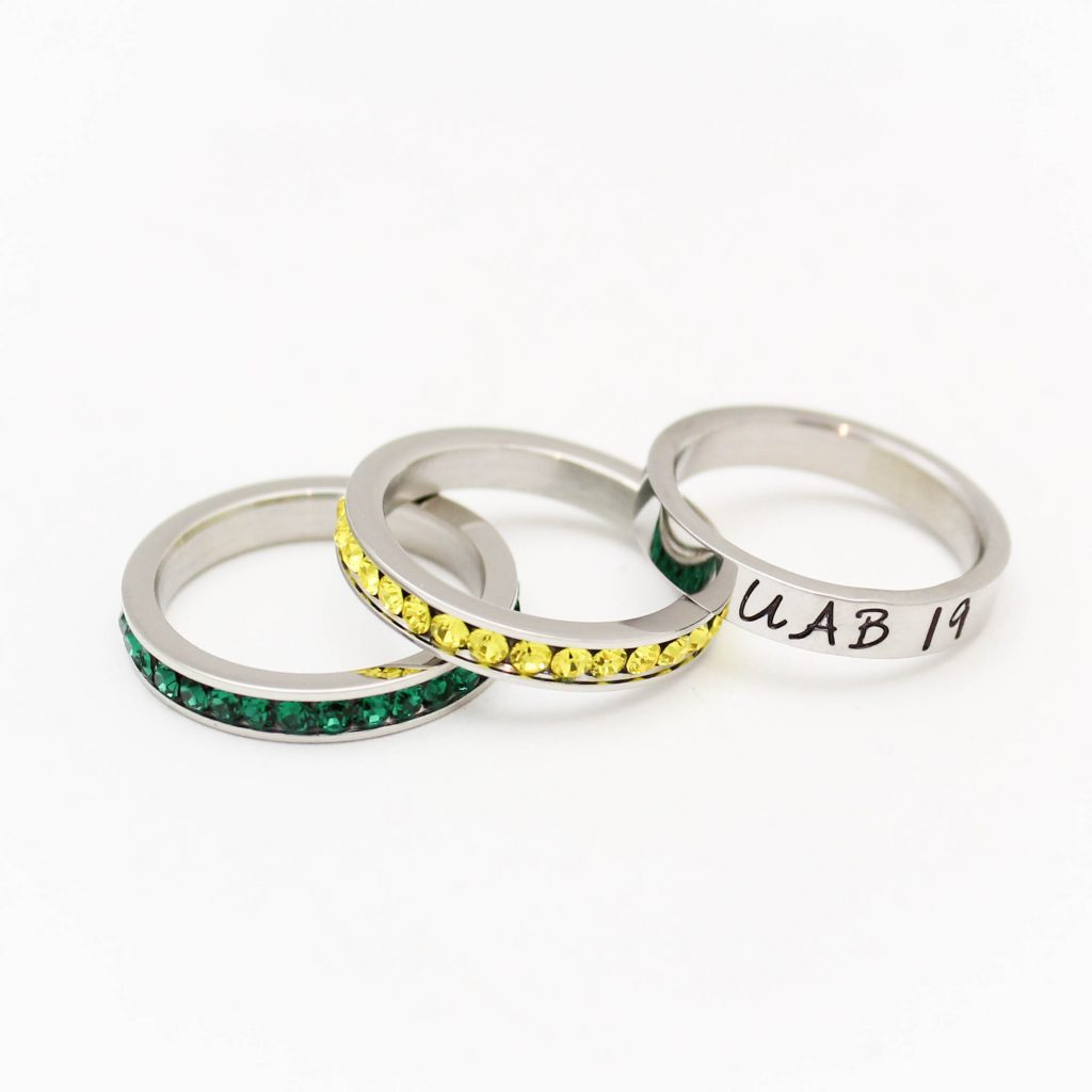 Hand stamped graduation ring set by Tracy Tayan Designs