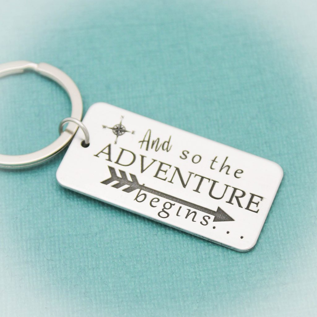 And so the Adventure begins graduation keychain