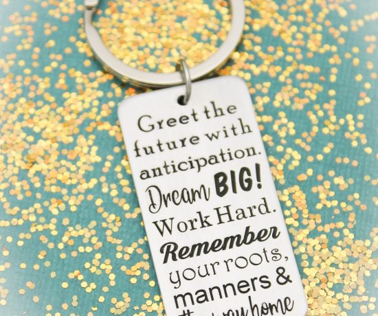 Unique graduation keychain gift.