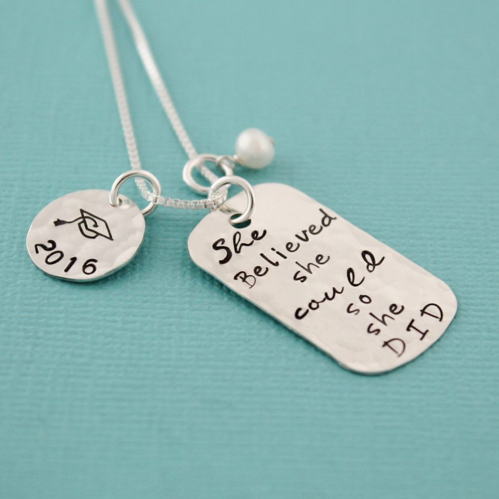 Unique hand stamped dog tag necklace for graduates.