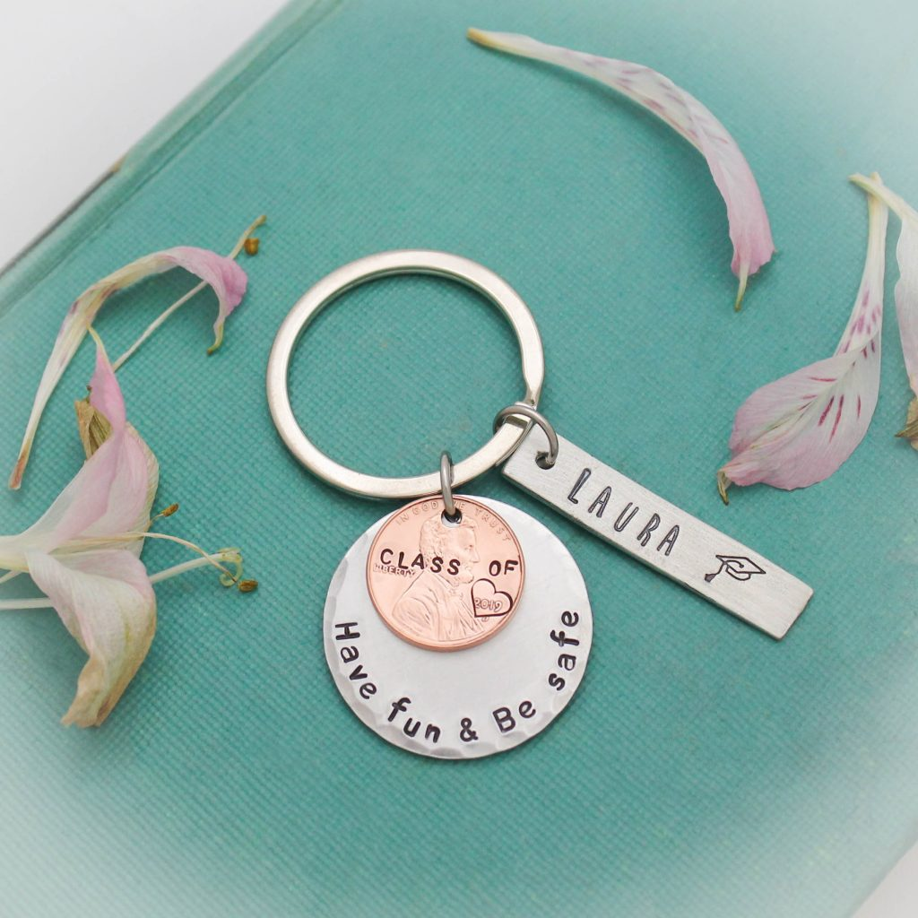 Hand stamped graduation keychain by Tracy Tayan Designs