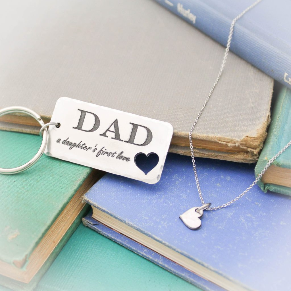 Dad Daughter keychain necklace gift set