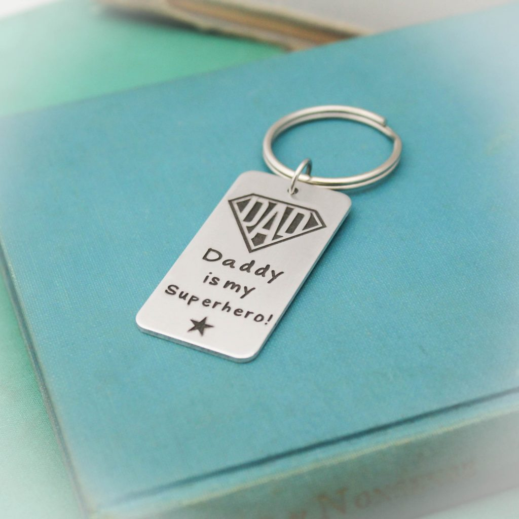 Superhero dad keychain personalized gift for dad.