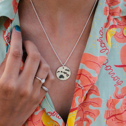 Hawaiian islands aloha necklace in sterling silver