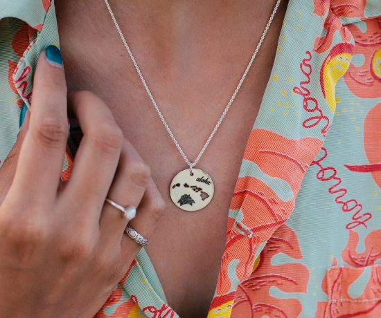 Hawaiian islands aloha necklace in sterling silver