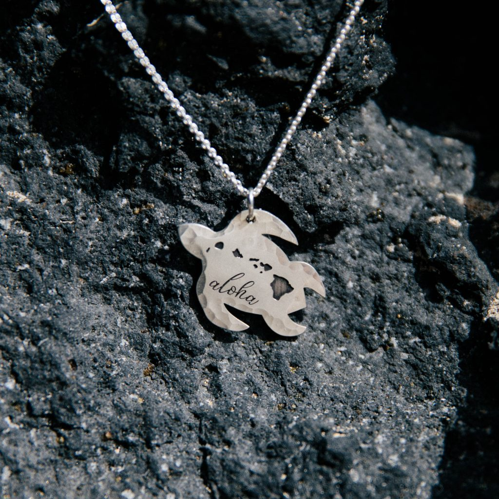 Hawaiian islands turtle necklace