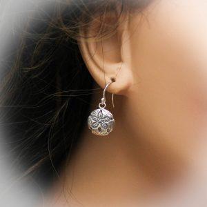 sterling silver sand dollar earrings