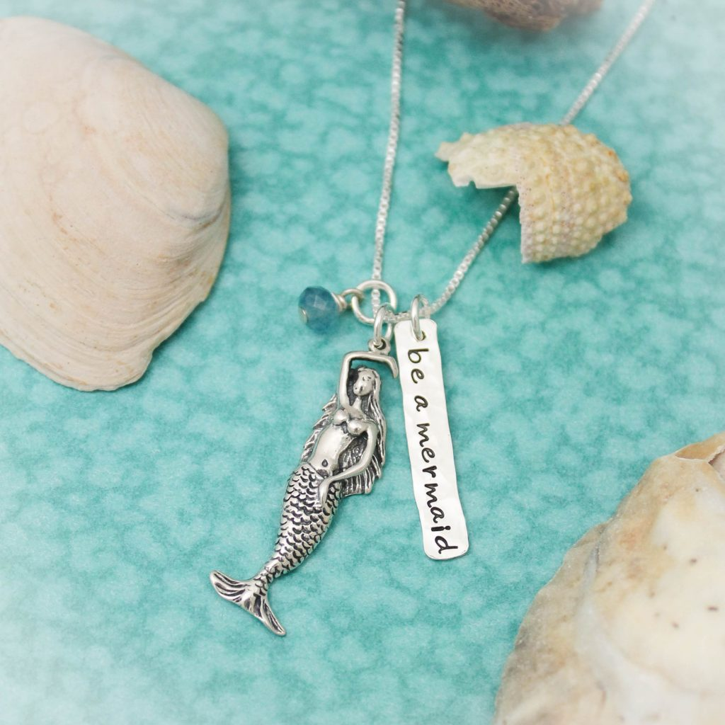 be a mermaid beach necklace handstamped