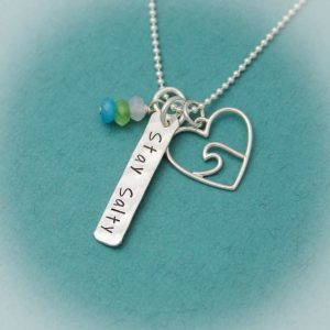 stay salty wave heart necklace