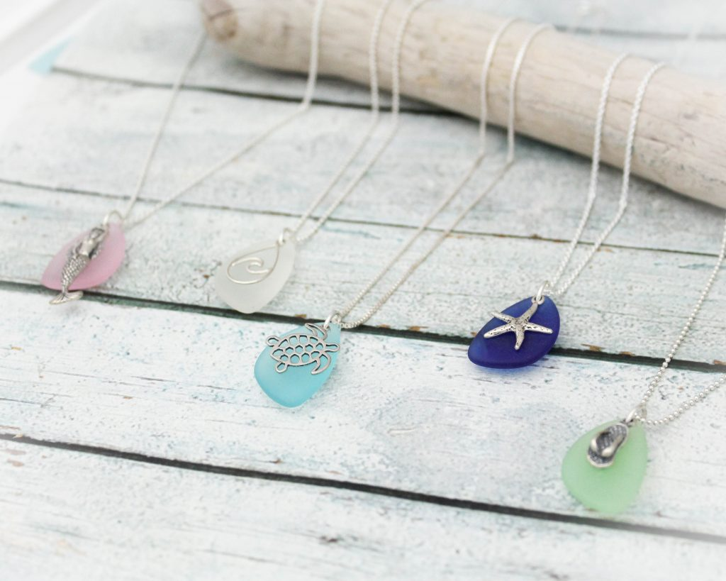 sterling silver sea glass necklace with beach charm