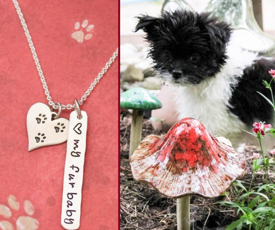 Furbaby silver necklace with paw print charm