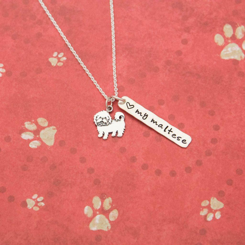 maltese dog necklace in sterling silver