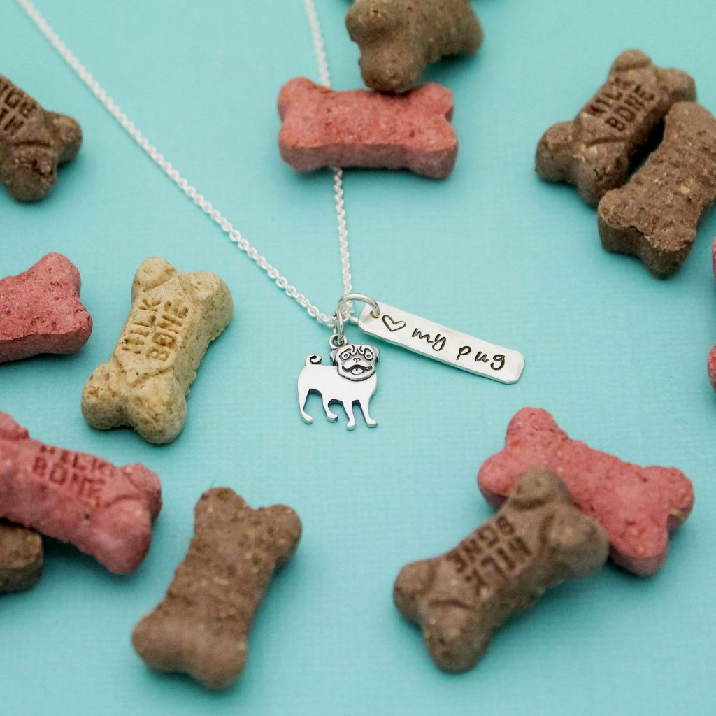 Love my Pug sterling silver necklace