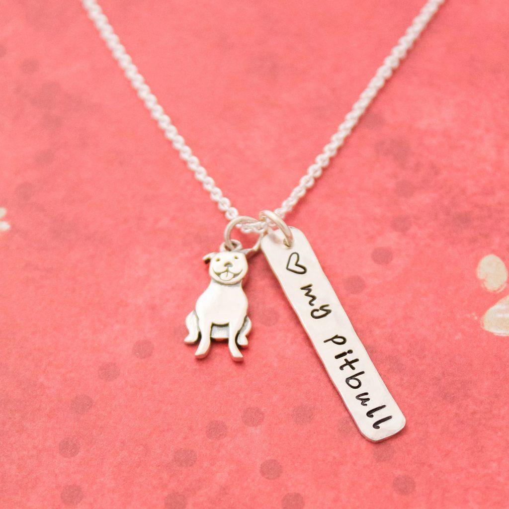 I Love my Pitbull dog necklace