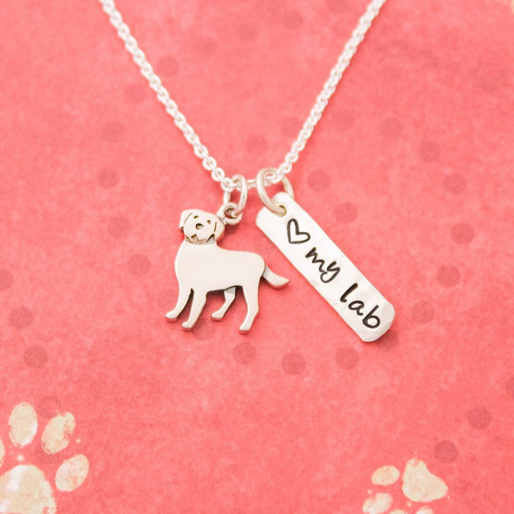 Love my Lab necklace in sterling silver