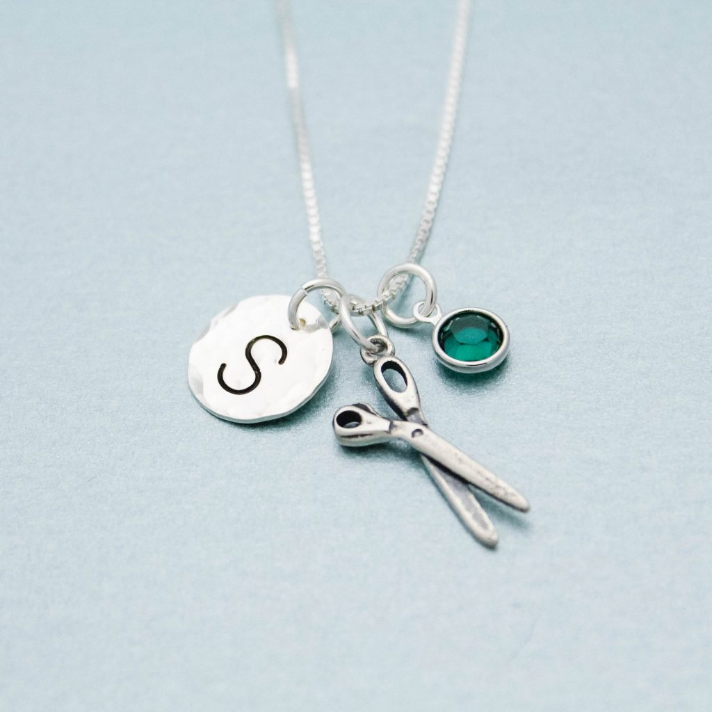 hair stylist charm necklace in sterling silver
