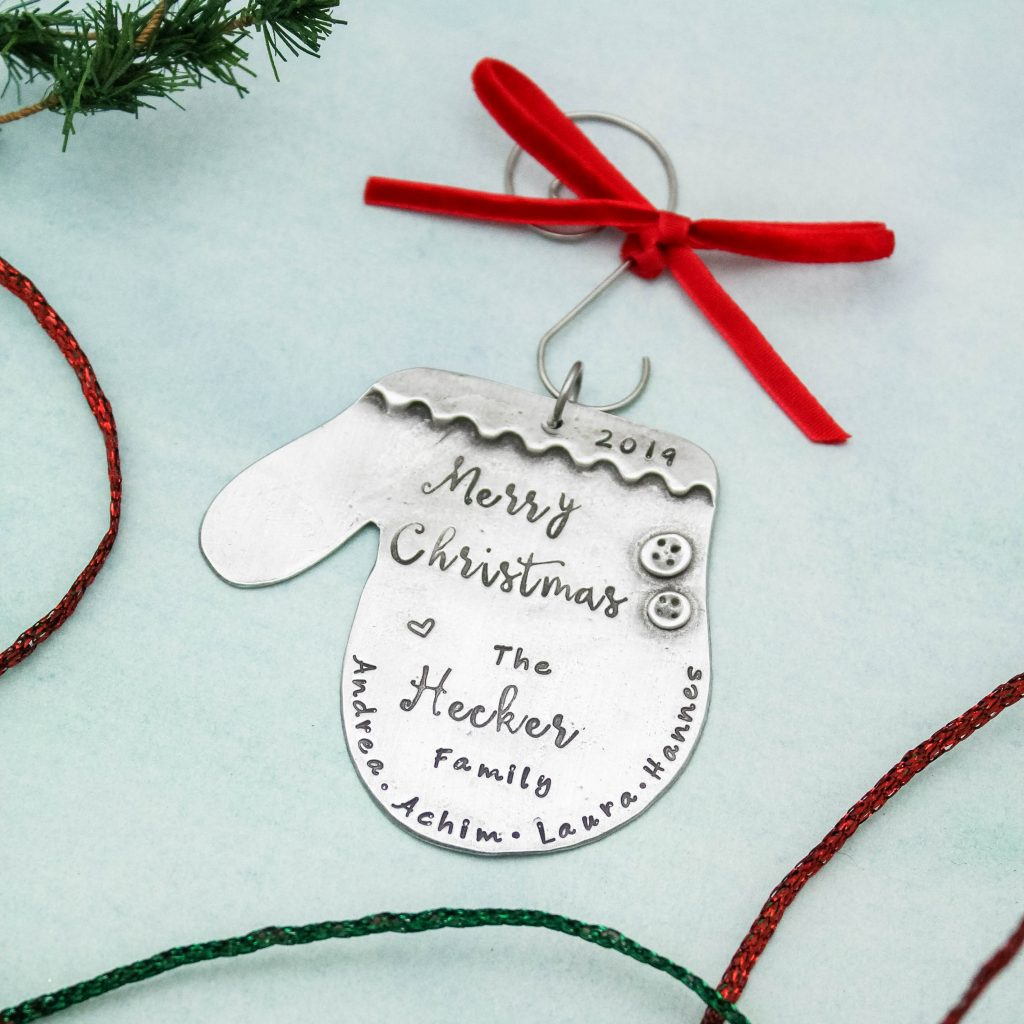 Winter mitten personalized hand stamped ornament