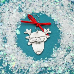 pewter personalized reindeer ornament