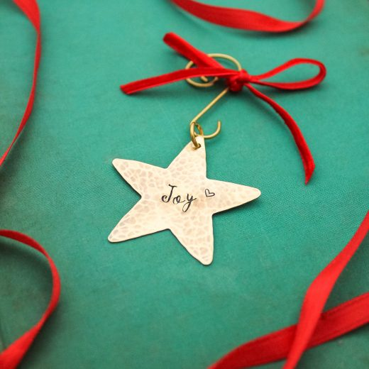 Personalized brass gold shiny star ornament