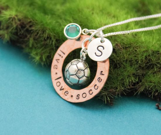 live love soccer copper washer necklace