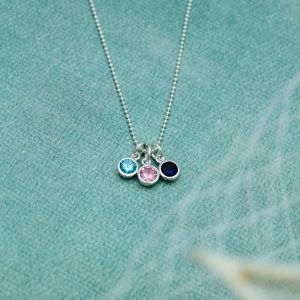 simple birthstone charm necklace in sterling silver