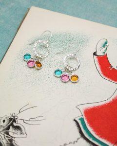 mother grandmother birthstone earrings in sterling silver
