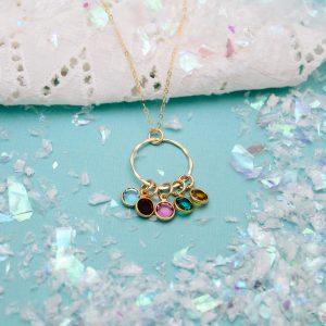 gold birthstone necklace for grandma