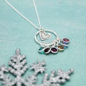 heart circle birthstone necklace for grandmothers