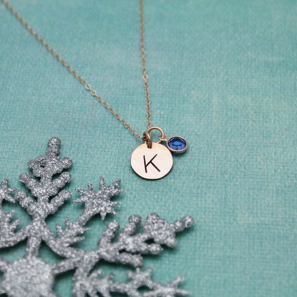 rose gold initial necklace with birthstone