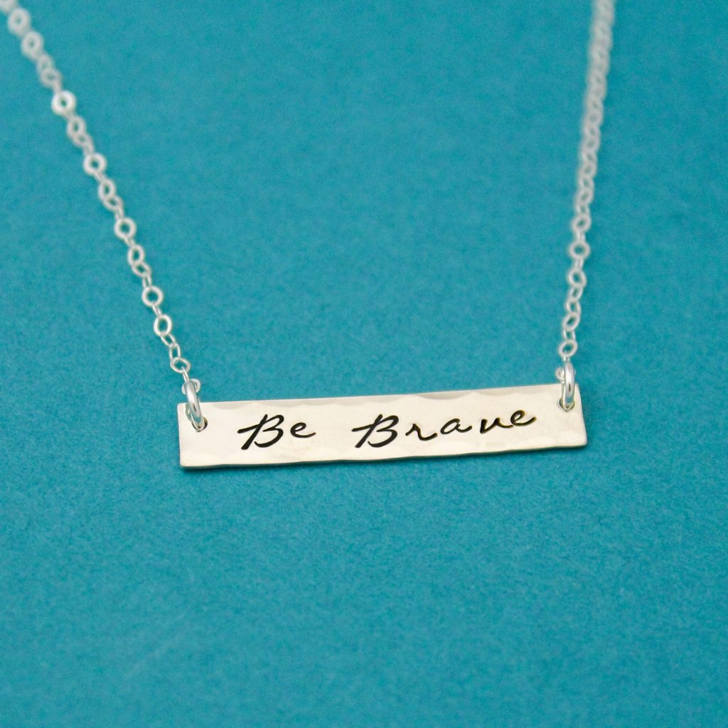 sterling silver be brave bar necklace