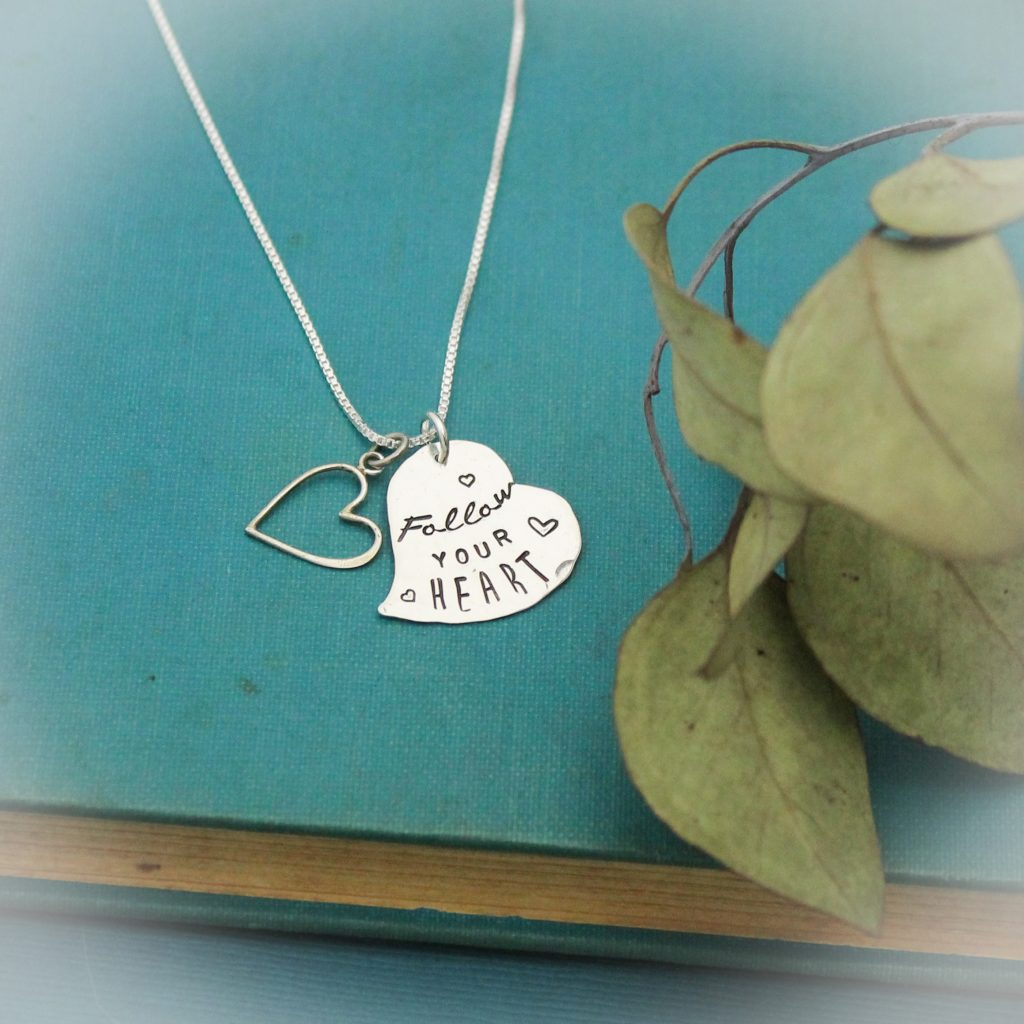 follow your heart necklace in sterling silver hand stamped
