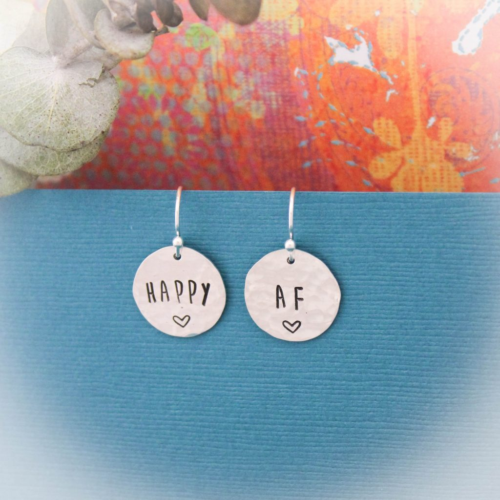 happy as fuck earrings in sterling silver